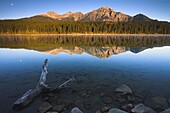 The moon over Patricia Lake at dawn, Jasper National Park, UNESCO World Heritage Site, Alberta, Rocky Mountains, Canada, North America