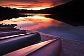 Upturned canoes beside Patricia Lake, Jasper National Park, UNESCO World Heritage Site, Alberta, Rocky Mountains, Canada, North America