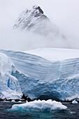 Mountains, glaciers and icebergs in Hidden Bay, Antarctic Peninsula, Antarctica, Polar Regions