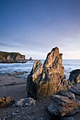 Eroded rocks at Bantham in South Devon, England, United Kingdom, Europe