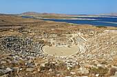 The Theatre, Quarter of the Theatre, archaeological site, Delos, UNESCO World Heritage Site, Cyclades Islands, Greek Islands, Aegean Sea, Greece, Europe