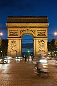 Traffic around Arc de Triomphe, Avenue des Champs Elysees, Paris, France, Europe