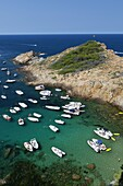 Cove filled with pleasure boats, Sa Tuna, near Begur, Costa Brava, Catalonia, Spain, Mediterranean, Europe