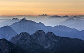 Sunset over the Julian Alps from Mangart, Goriska, Slovenia, Europe