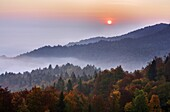 Mist over the Ljubljana Basin at sunrise in autumn, Central Slovenia, Slovenia, Europe