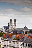 Looking across to St. Gaiten cathedral with the church of St. Julien visible across the rooftops, Tours, Indre-et-Loire, Loire Valley, Centre, France, Europe
