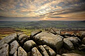 Sunset over Baslow, Curbar Edge, Peak District National Park, Derbyshire, England, United Kingdom, Europe
