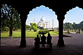 Taj Mahal, UNESCO World Heritage Site, viewed through decorative stone archway, Agra, Uttar Pradesh state, India, Asia