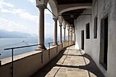 Balcony of the Santa Caterina Monastery and Hermitage, Lake Maggiore, Lombardy, Italian Lakes, Italy, Europe