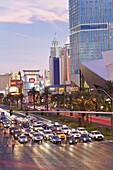 Hotels and casinos along the Strip, Las Vegas, Nevada, United States of America, North America
