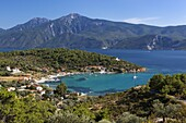 View over east coast village, Posidonio, Samos, Aegean Islands, Greece