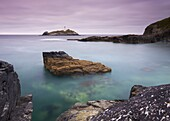 Godrevy Lighthouse from a tranquil Godrevy Point, Cornwall, England, United Kingdom, Europe