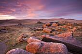 Pink dawn sky above Belstone Tor, Dartmoor National Park, Devon, England, United Kingdom, Europe