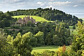 Dunster Castle and Conygar Tower in Exmoor National Park, Somerset, England, United Kingdom, Europe