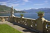View from the terrace of 18th Century Villa del Balbianello  in spring sunshine, Lenno, Lake Como, Italian Lakes, Italy, Europe