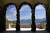 Loggia and gardens of the Villa del Balbianello on Punta di Lavedo in spring sunshine, Lenno, Lake Como, Italian Lakes, Italy, Europe