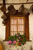 Shuttered windows and flowers, Corvara, Badia Valley, Bolzano Province, Trentino-Alto Adige/South Tyrol, Italian Dolomites, Italy, Europe