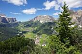 View from Col Alto, Corvara, Badia Valley, Bolzano Province, Trentino-Alto Adige/South Tyrol, Italian Dolomites, Italy, Europe