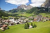View of Corvara from cable car, Badia Valley, Bolzano Province, Trentino-Alto Adige/South Tyrol, Italian Dolomites, Italy, Europe