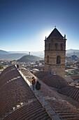 People on rooftop of Convento de San Francisco, Potosi, UNESCO World Heritage Site, Bolivia, South America