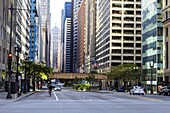 Downtown street scene, North Clark Street, The Loop, Chicago, Illinois, United States of America, North America