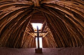 Interior of Navajo hogan, traditional dwelling and ceremonial structure, Monument Valley Navajo Tribal Park, Utah, United States of America, North America