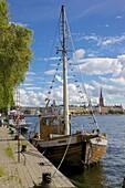 City skyline and sailing ship from Norr Malarstrand, Kungsholmen, Stockholm, Sweden, Scandinavia, Europe