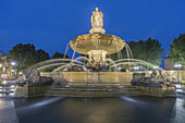 La Rotonde fountain - The central roundabout in Aix-en-Provence,  France