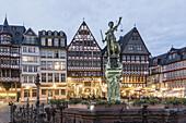 Justitia,  Fountain of Justice,  Restaurants,  Cafes, Roemerberg Frankfurt Germany