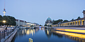 German Cathedral at night, Spree River, Berlin, Germany, Europe