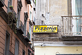 restaurant sign, yellow, Pizzeria, Pizza, traditional, popular, fast-food, Italian, restaurant, lifestyle, culture, houses, Italian food, Naples, Napoli, Italy