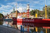 Museum in Light Vessel, town hall, Deutsche Bucht, Emden on the River Ems, Lower Saxony, Germany