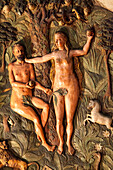 Market Church St Cosmos and Damian, Goslar, carved figures on church pulpit, Adam and Eve, Lower Saxony, Germany