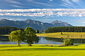 View over Forggensee to Tegelberg and Saeuling, Allgaeu, Bavaria, Germany
