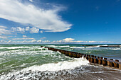 Spur dyke at the beach near Ahrenshoop, Darss, Baltic Sea, Mecklenburg-West Pomerania, Germany