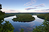 View over Saale sinuosity at Saale barrier lake, nature park Thueringer Schiefergebirge / Obere Saale,  Thuringia, Germany