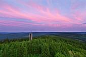 View from Kickelhahn hill, near Ilmenau, Goethe hiking trail, nature park Thueringer Wald, Thuringia, Germany