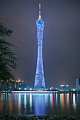 iconic tv tower of Guangzhou with night illumination (blue), Guangdong province, Pearl River Delta, China