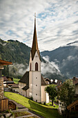 church in front of panoramic alps at Mayrhofen, Zillertal, Tyrol, Austria, Alps
