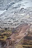 constructions with heavy load machinery near Hintertux Glacier, Zillertal, Tyrol, Austria, Alps