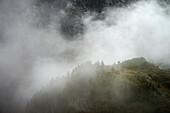 mist at the mountain peak near Hintertux Glacier, Zillertal, Tyrol, Austria, Alps