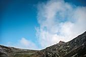 mountain hut near Hintertux Glacier, Zillertal, Tyrol, Austria, Alps