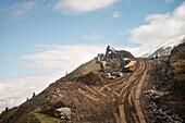 Constructions with heavy load machinery around Hintertux Glacier, Zillertal, Tyrol, Austria, Alps