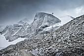 Barren rocks and boulders at Hintertux Glacier, Zillertal, Tyrol, Austria, Alps