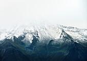 Glacier disappearing in mist, Zillertal, Tyrol, Austria, Alps
