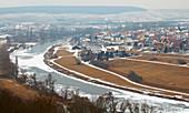 View over the frozen river Main at Untereisenheim left und Fahr right, Winter, Unterfranken, Bavaria, Germany, Europe