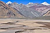 'Colorful mountains and river valley of Rio Yeso, Valle del Yeso, Cajon del Maipo, Región Metropolitana de Santiago, Andes, Chile;'