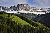 snow at mountain range Rosengarten, Catinaccio, St. Zyprian, Tiers, Tiers Valley, Nature Park Schlern-Rosengarten, Dolomites, South Tyrol, Alto Adige, UNESCO world heritage side, Italy, European Alps, Europe