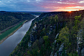 Sunset over Elbe river from Bastei rock towards Wehlen, Pirna and rock formations, Rathen, Elbe Valley, Elbe Sandstone Mountains, Saxon Switzerland, Saxony, Germany