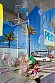 Reflection in a shop window, Vila Real de Santo Antonio, Algarve, Portugal
